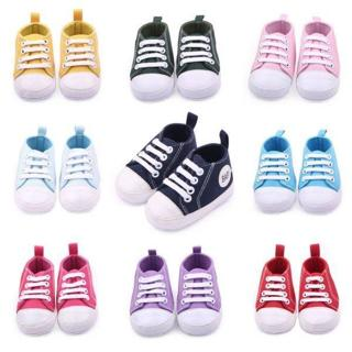 Baby Toddler Kids Shoes Lace Up Canvas Sneakers Boys Girls Soft Crib Shoes 0-12M