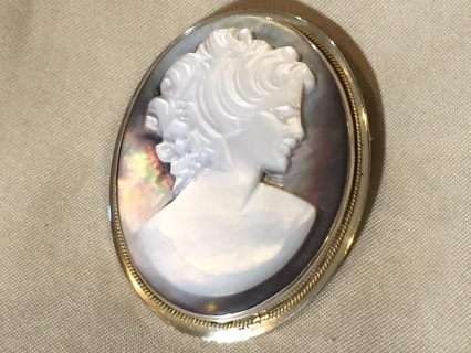 Vintage Abalone Shell Hand Carved Cameo with Silver 800 bezel