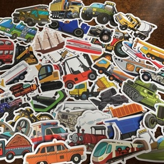 50Pcs Vehicle Car Sticker Cute Bus Truck Motorcycle