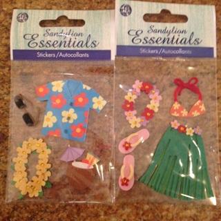 2 sets of Luau Scrapbook stickers