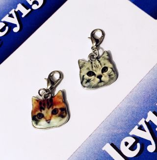 NEW Cat Head Dangle Charm Set Accessories Kitty Kat Meow FREE SHIPPING