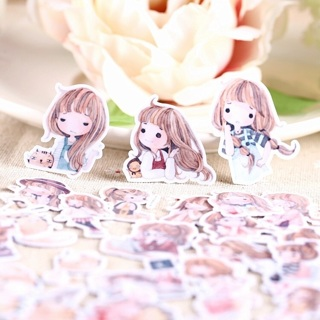 ♦️ Sweet Anime Girl and Her Stuffed Toys Kawaii High End Sticker Flakes Set of 10 BRAND NEW ♦️