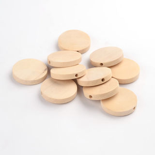 20PCs Lead Free Wood Beads Flat Round Moccasin Color Unique Spacer Beads 25x5mm