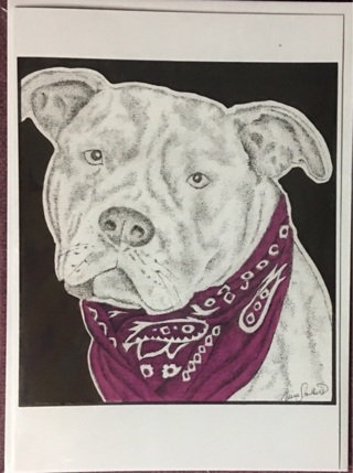 "PIT BULL WITH BANDANA - 5 x 7"" art card by artist Nina Struthers - GIN ONLY"