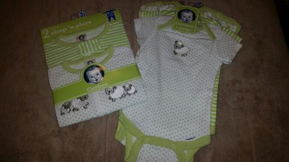 Neutral sleep and play and onesie sets