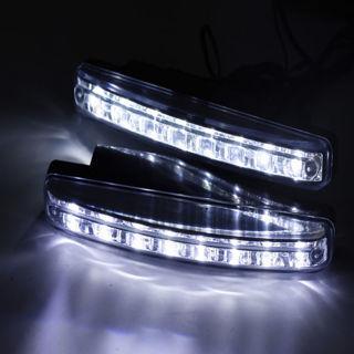 [GIN FOR FREE SHIPPING] 1Pair Car Daytime Running Light 8 LED Kit Super White Head Lamp