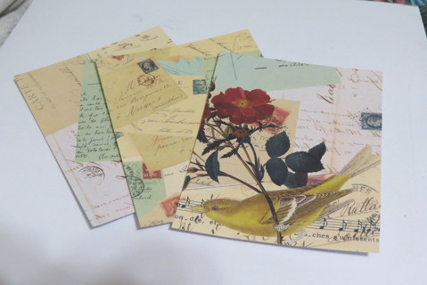 Card Front papers, birds flowers and letters, set of 8