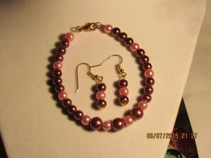 Pink & Brown Bracelet & Earring Set