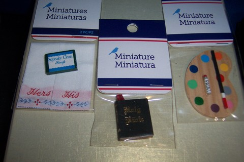 MINIATURES BAR SOAP HIS HERS HAND TOWELS/ HOLY BIBLE/ PAINT PALETTE
