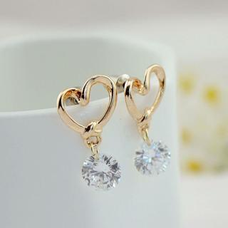 Gold Plated Love Heart Crystal Zircon Dangle Earrings