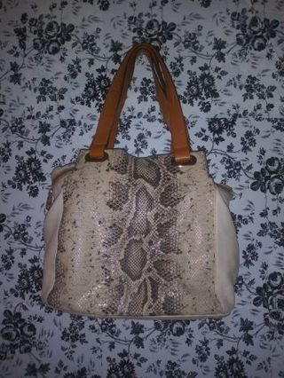 ❤Vince Camuto reptile snake skin 3 strap brown/tan leather handbag. ❤ With gifts!