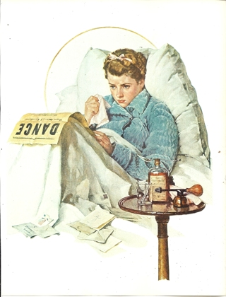 """vintage Norman Rockwell: Sick Day - 10"""" x 13"""" Print"""