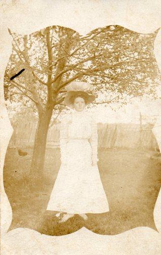 Vintage Unused Postcard: B&W Lady Real Photo