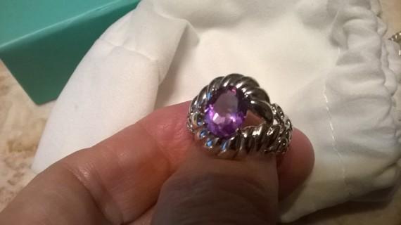Carolyn Pollack Sterling Silver Amethyst Rope & Scroll Ring, sz 9
