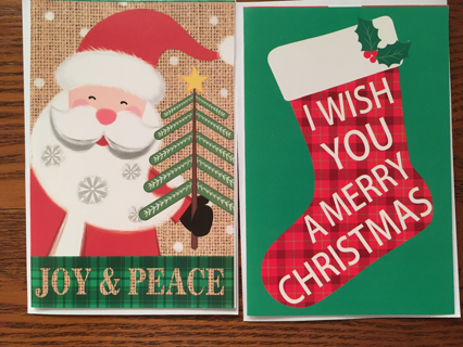 TWO CHRISTMAS CARDS WITH ENVELOPES