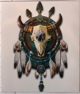 """Bull Skull Dream Catcher Native American - 4 x 3"""" MAGNET"""