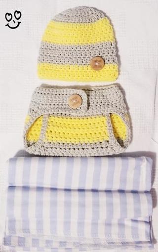 Crochet Newborn Boy Photography Outfit Crochet Baby Diaper Cover & Headband & 1 Receiving Blanket