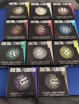 The full set of Kat Von D metal crush eyeshadow singles