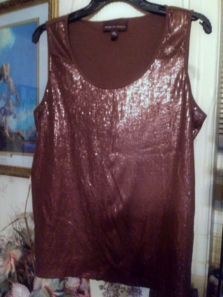 EUC XL Dana Buchman Bling-'Tastic' Brown Tank Very Glittery Sweater Tank Top