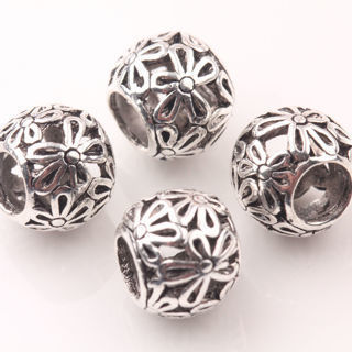 20Pcs Tibetan Silver Big Hole Petal Carving Loose Spacer Beads Charms 10mm