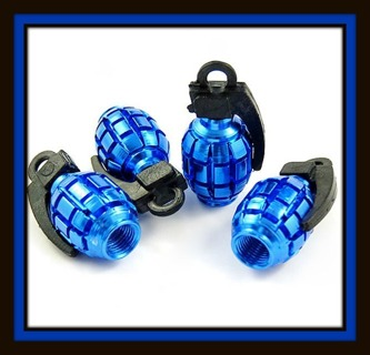 Specialty GRENADE Protective Tire Valve Stem End Caps, Metallic BLUE!