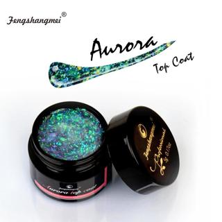 Fengshangmei 5ml Aurora Nail Gel Top Coat 12 Colors Clear UV Gel Nail Polish Art Design Hybrid Gel