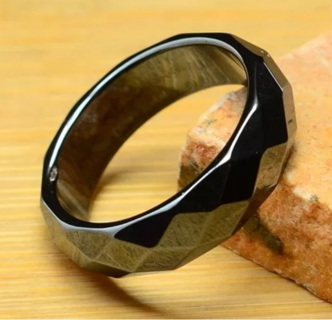 Real Natural Faceted Hematite Ring size 7.25
