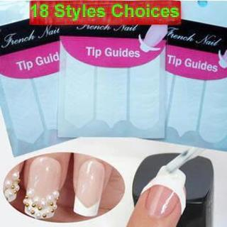 2 sheets/lot !18 Styles! Nails Art Stickers French Tips Guides Manicure Nail Decals Form Fringe Gu