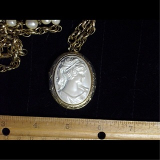 VINTAGE white cameo locket necklace