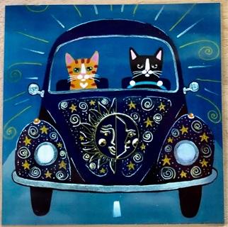 "VW BUG with kitties - 3 x 3"" MAGNET"