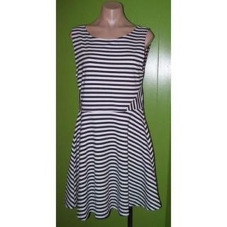 Size L Large Black White Stripe Sleeveless Dress