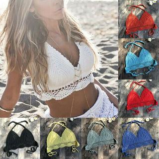 Women Crochet Lace Vest Crop Top Knitted Bra Boho Beachwear Bikini Tank Tops