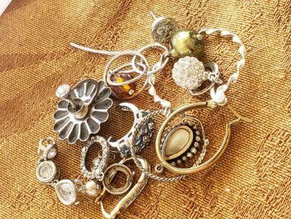 13 pc 925 sterling silver single earring/ charm lot