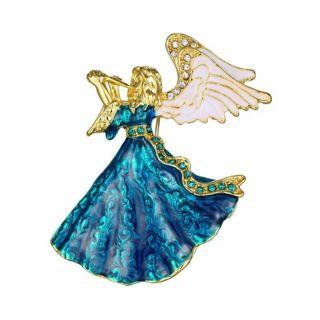 Rhinestone Crystal Angel Pin