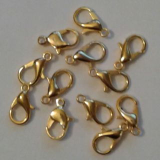 12 Bright Gold Lobster Claw Clasp