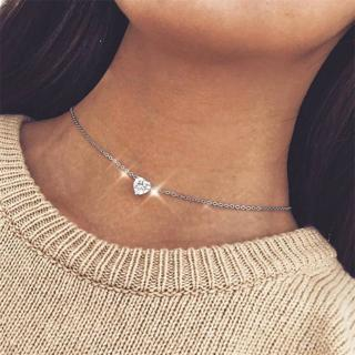 Fashion Women Heart Love Crystal Rhinestone Chain Pendant Silver Gold Necklace Classic Girl