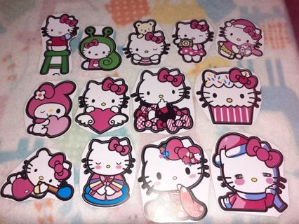 """❤✨❤✨❤️13 BRAND NEW LARGE ASSORTED LEFTOVER """"HELLO KITTY"""" STICKERS❤✨❤✨ONLY 1!"""