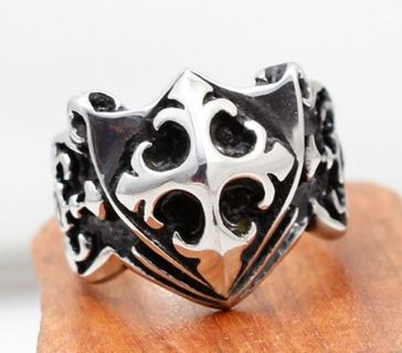1 NEW RING Men's Vintage Style Antique Silver Cross Gift Biker Man Shield Jewelry FREE SHIPPING