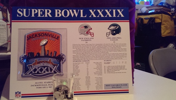 SUPER BOWL XXXIX Patch On Display Card & Shot Glass