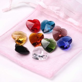 [GIN FOR FREE SHIPPING] 30Pcs Charms Glass Crystal Heart Faceted Beads Loose Spacer