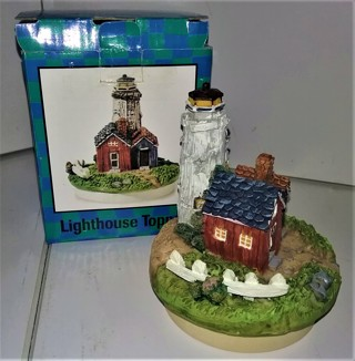 "Detailed Lighthouse candle topper - resin material - 4"" high X 3 1/4"" diameter - for candles 3"" wide"