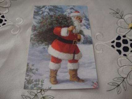 "Santa carrying Holly Berry Branches"" ~ Vintage Style Postcard ~ Free shipping"