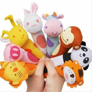 Cartoon Animal Soft Plush Sound Handbells Squeeze Rattle For Newborn Baby Toy