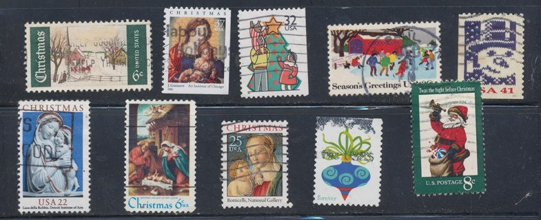 United States:  (10) Christmas Stamps, All Different, Used, In Excellent Condition - CHS-1035a