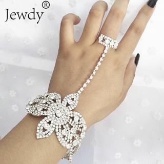 Statement Rhinestone Finger Ring Bracelets for Women Pulseras Mujer Wedding Crystal Bowknot Bangle