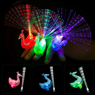 5Pcs Fashion Peacock Light Up Finger Ring LED Glow In Dark Stick Party