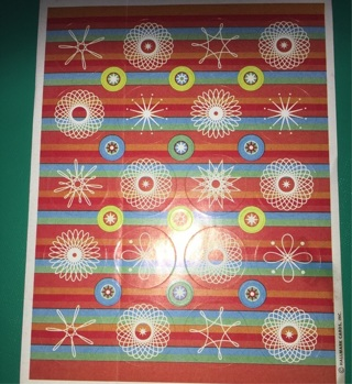 Vintage Spiro Stencil Spirograph Themed Sticker Sheet from Hallmark