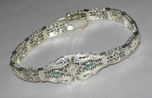 Sterling Bracelet Emerald Filigree