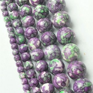 Natural Purple Green Rainbow Stones Round Spacer Loose Beads For Necklace Bracelet Charms Jewelry