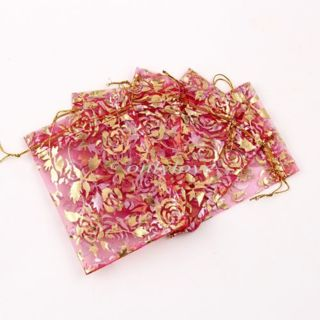 ☆10 Organza Red Gold Rose Jewelry Bags